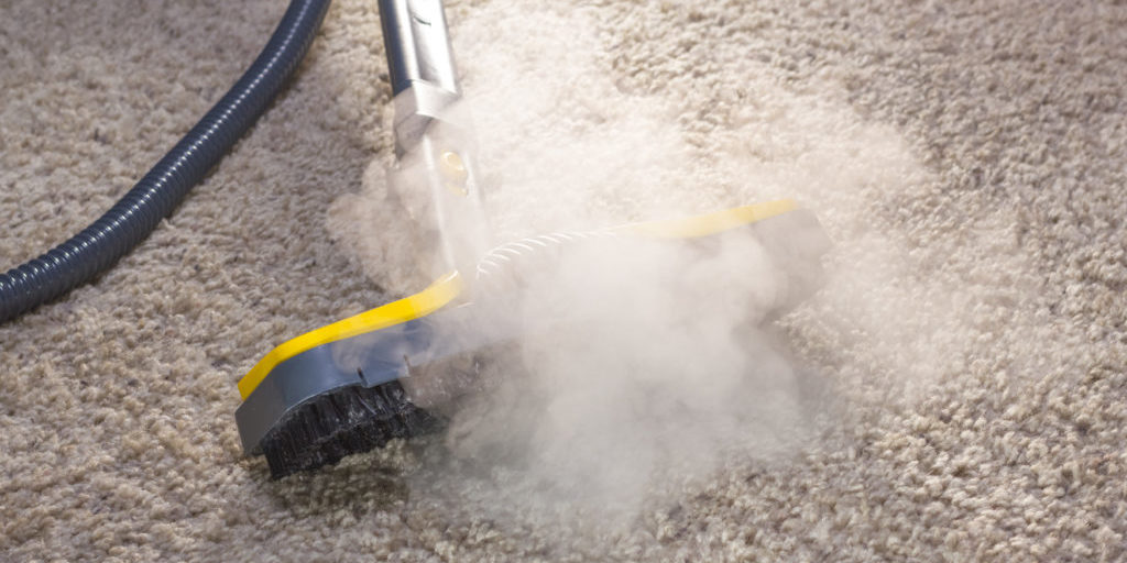 Using dry steam cleaner to sanitize floor carpet.